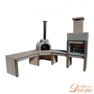Horno, mesado, barbacoa y mesa fregadero de granito