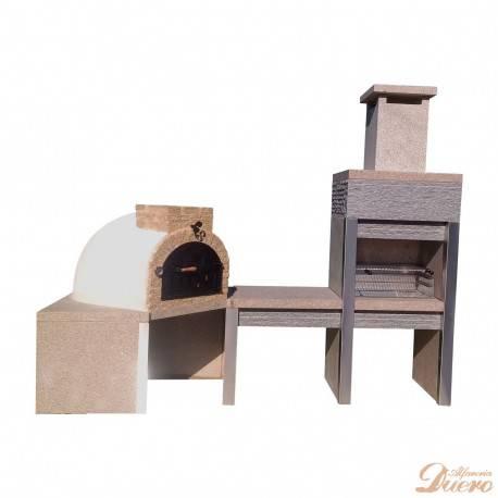 Horno en esquina, mesa y barbacoa de granito