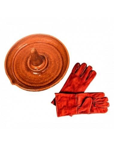 lote asador de pollos y guantes de proteccion