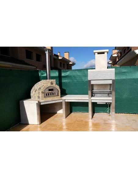 Horno puerta y chimenea inoxidable, mesa y barbacoa de granito