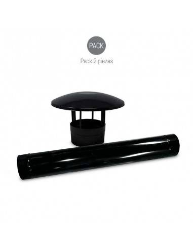 KIT CHIMENEA Y SOMBRERO NEGRO VITRIFICADO Ø150mm