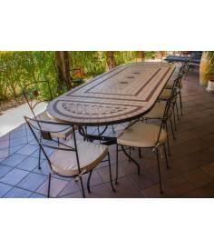 Sillas de Jardín con regalo de Mesa Rectangular de mosaico craquelado + 2 consolas para hacer tu conjunto de mesa y sillas