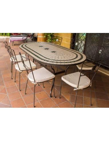 Promoción Sillas de Jardín con Mesa Ovalada de mosaico craquelado de Regalo para hacer tu conjunto de mesa y sillas