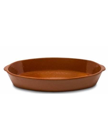 Fuente Lisa Ovalada de Barro con asas 45 x 26 cm