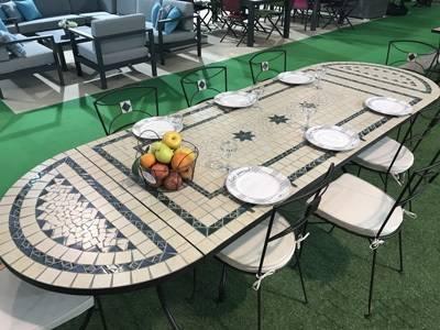 Muebles de jardin conjunto de mesa rectangular con consolas y sillas