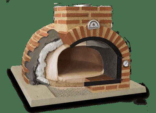 foto seccion de horno de leña con acabado exterior en ladrillo rustico