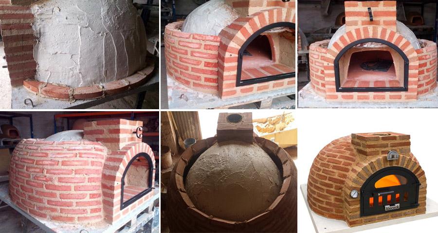 ejemplo de construcción de horno de leña con ladrillo rústico curvo