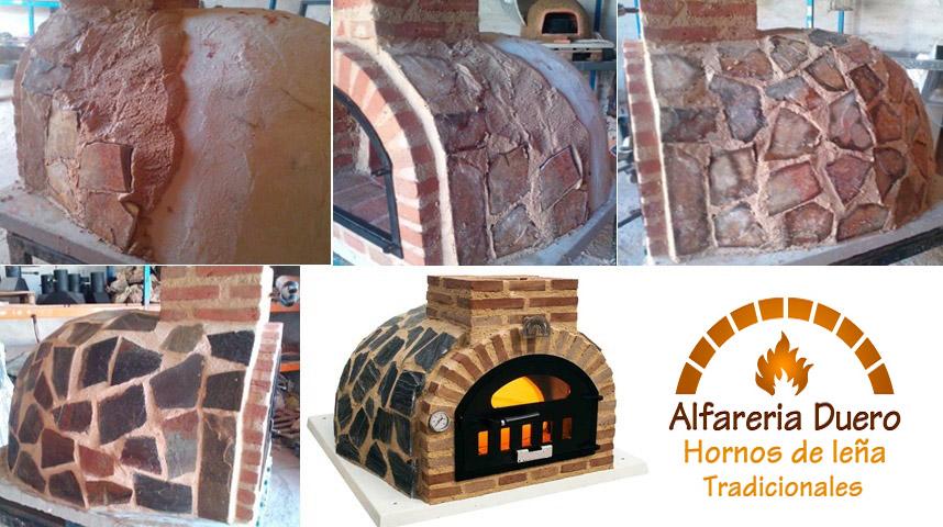 ejemplo de acabado de horno de leña con piedra, azulejo o mármol