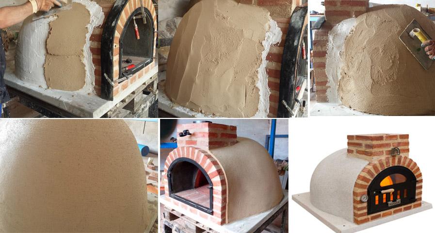 ejemplo de construcción de horno de leña con acabado exterior estilo tradicional