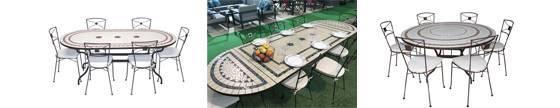 conjunto de mesas en ceramica ovaladas, redondas y rectangulares y sillas de jardin