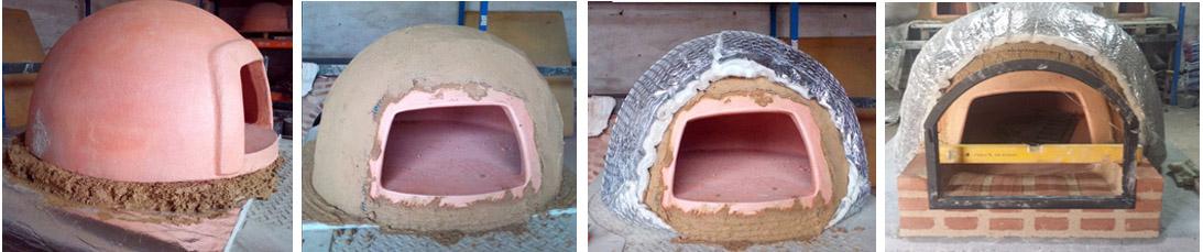 primeras etapas de construcción de un horno de leña