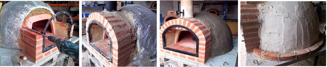 fotos de las siguientes fases de construcción de un horno de leña