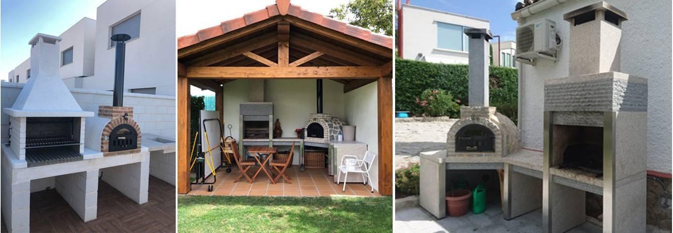 fotografía con diferentes instalaciones de hornos de leña hechos por Alfarería Duero