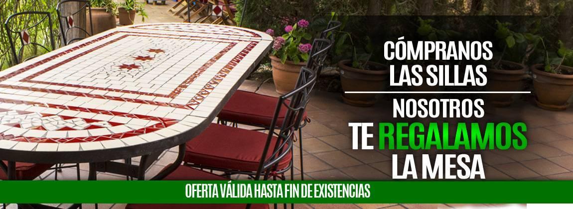 Oferta Promoción por la compra de sillas de jardín regalo de mesa cerámica
