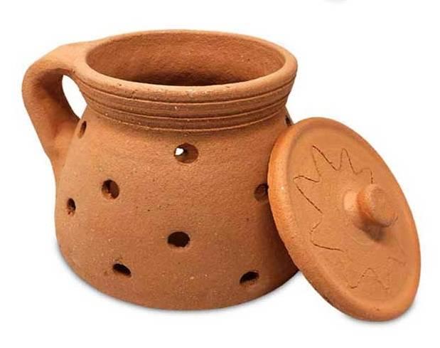Asador de castañas. Castañero de barro, especial hornos de leña.